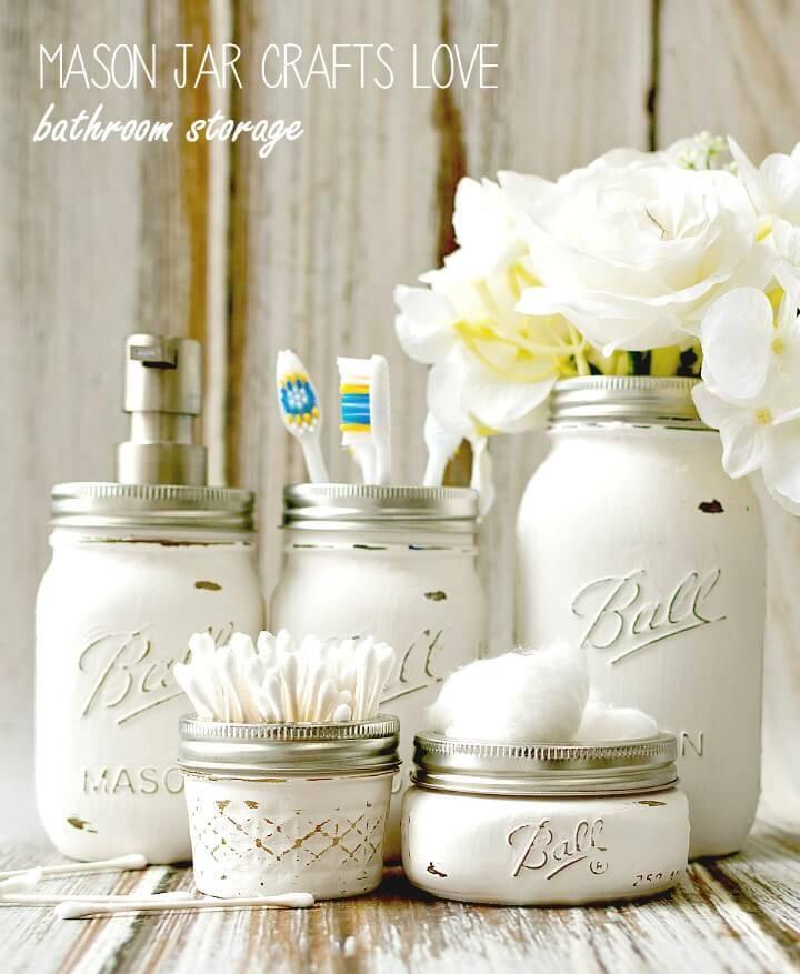 Useful DIY Mason Jar Bathroom Storage & Accessories