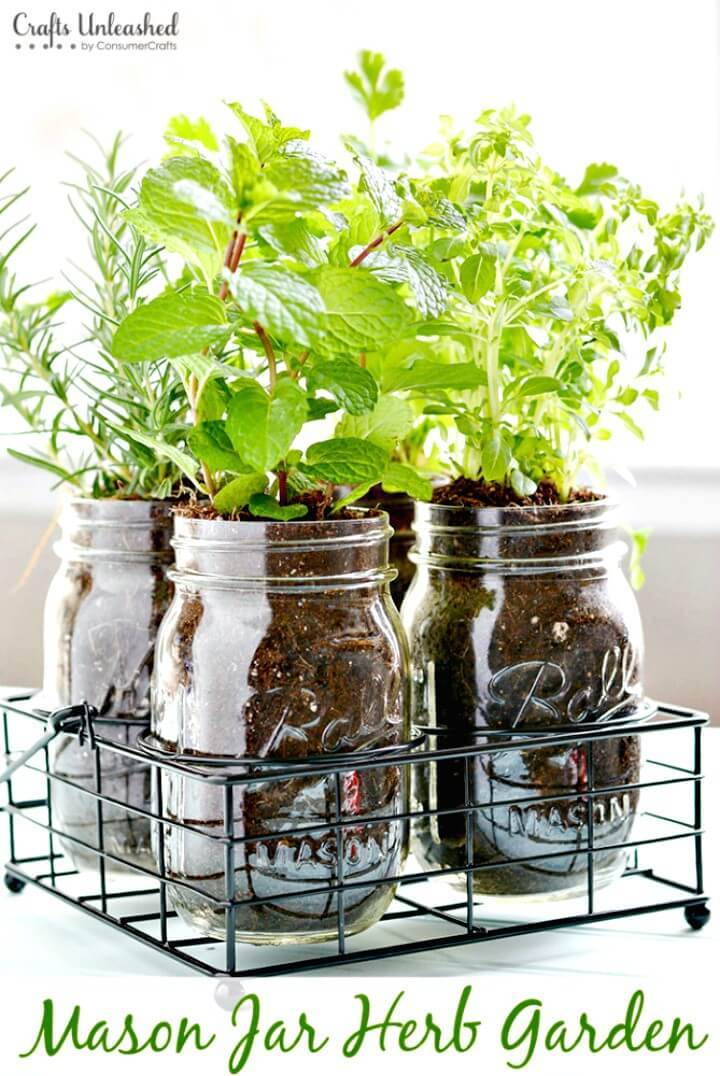 Make Your Own Mason Jar Herb Garden - DIY