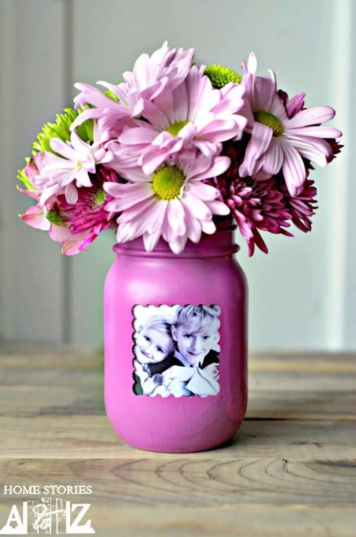 Make Your Own Mason Jar Picture Frame Vase - DIY