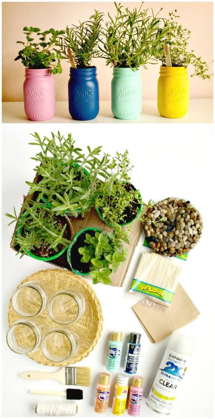 DIY Painted Mason Jar Herb Garden