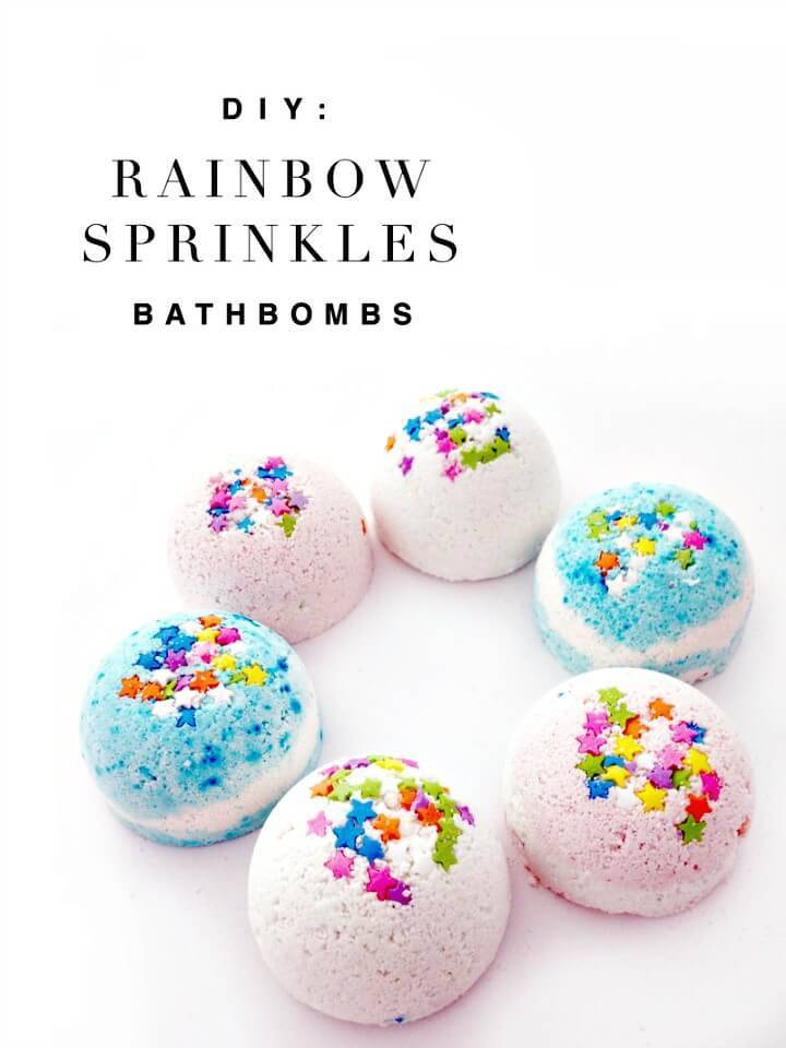 Easy DIY Rainbow Sprinkles Bath Bombs
