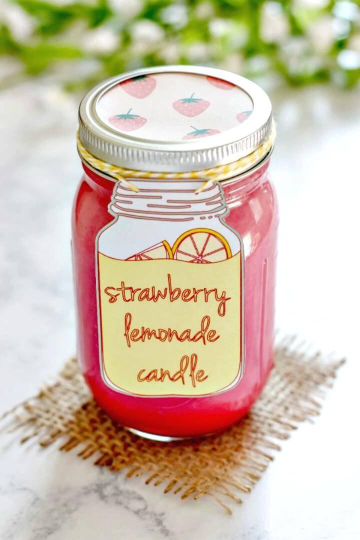 How to Make Strawberry Lemonade Candle - DIY Mason Jars Crafts