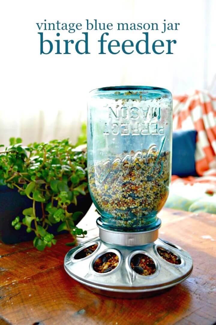 Make Your Own Vintage Blue Mason Jar Bird Feeder - DIY