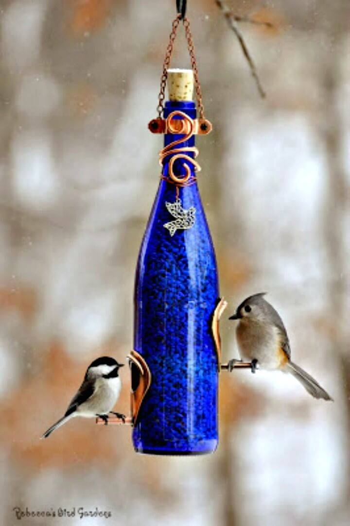 Make Your Own Wine Bottle Bird-Feeders - DIY
