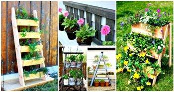 15 DIY Ladder Planter Plans – DIY Vertical Planter Ideas