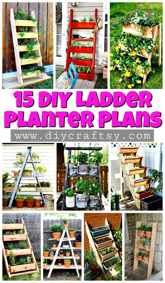 15 DIY Ladder Planter Plans - DIY Planter Ideas - DIY Garden Projects - DIY Crafts and DIY Projects