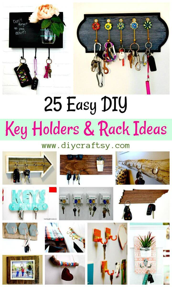 25 Easy DIY Key Holders and Rack Ideas - Wooden Key Rack Ideas - DIY Key Holder Ideas - DIY Crafts - DIY Projects - DIY Home Decor Ideas