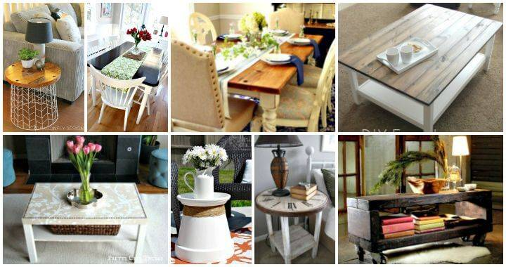 75 DIY Table Makeover Ideas to Upgrade Your Tables - DIY Table Ideas - DIY Coffee Table Ideas - DIY Side Table Ideas - DIY Nightstand Ideas - DIY Crafts - DIY Projects