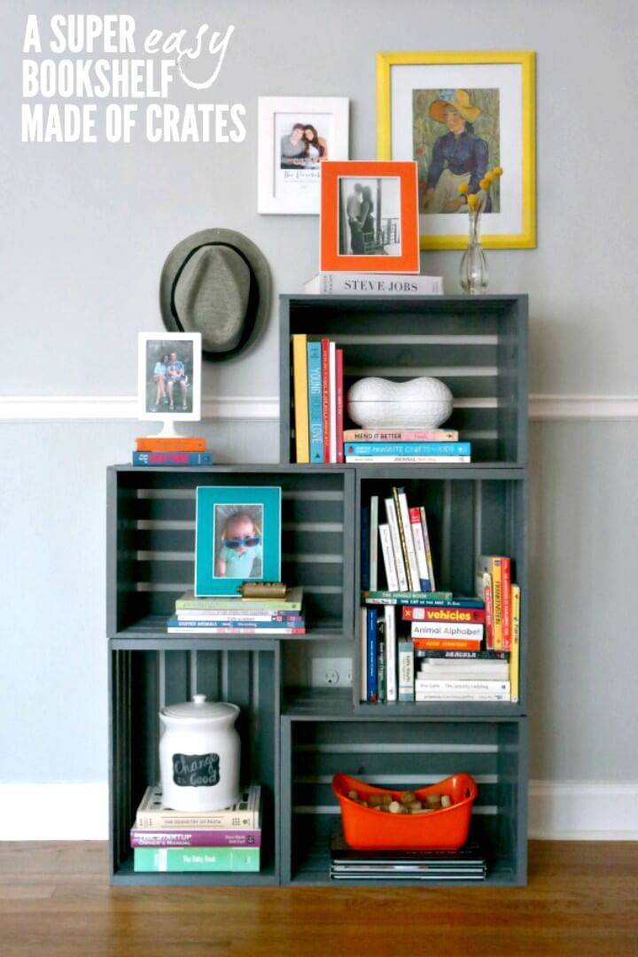 Adorable DIY Bookshelf Out Of Crates