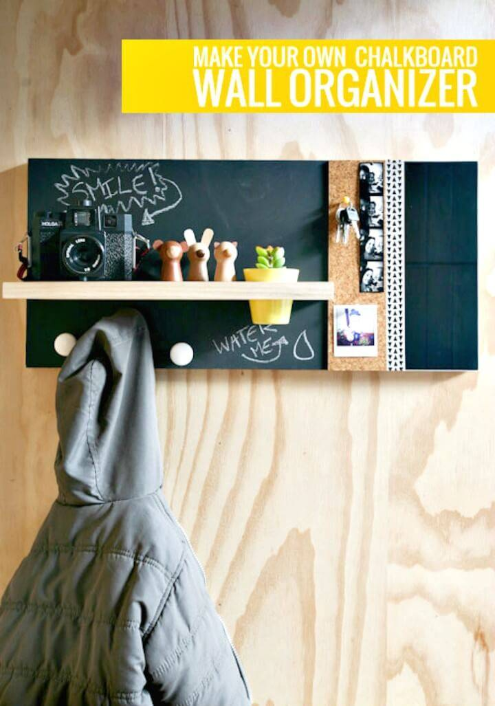Adorable DIY Chalkboard Wall Organizer