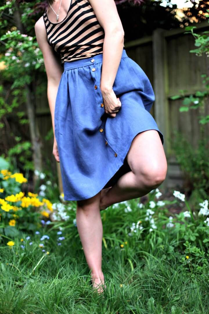 Adorable DIY Gathered Button Front Skirt