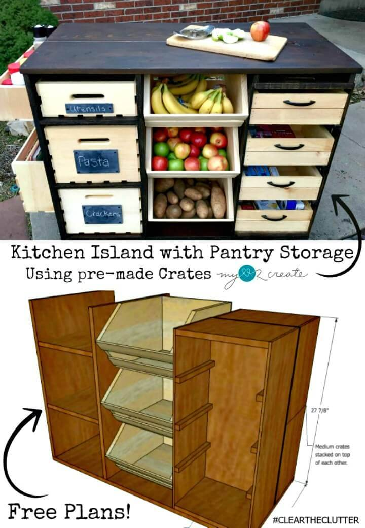 Adorable DIY Kitchen Island With Pantry Storage