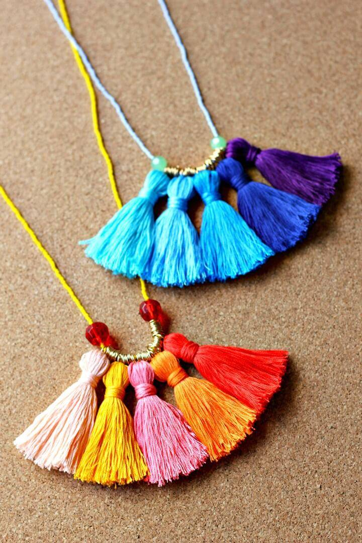 Adorable DIY Ombré Tassel Necklace