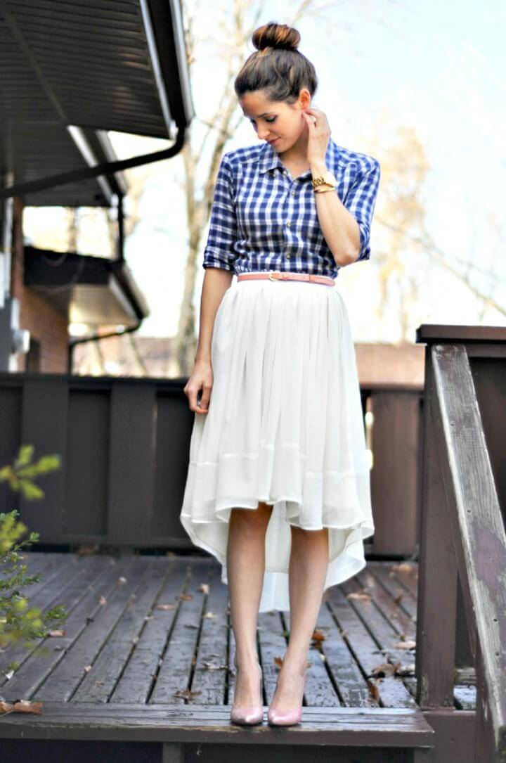 Adorable DIY Sheer Gathered High-Low Skirt