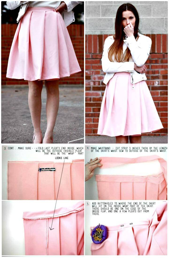 DIY Wide Pleat Wrap Skirt