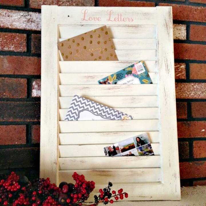 Adorable DIY Window Shutter Mail Organizer