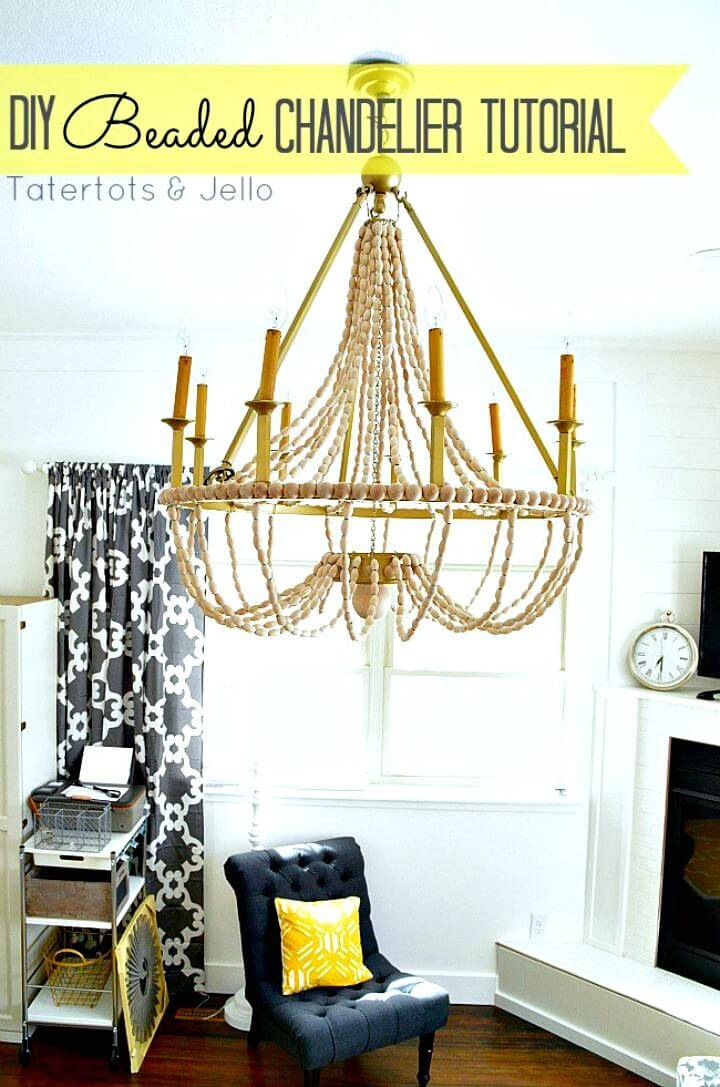 Adorable DIY Wood Beaded Chandelier