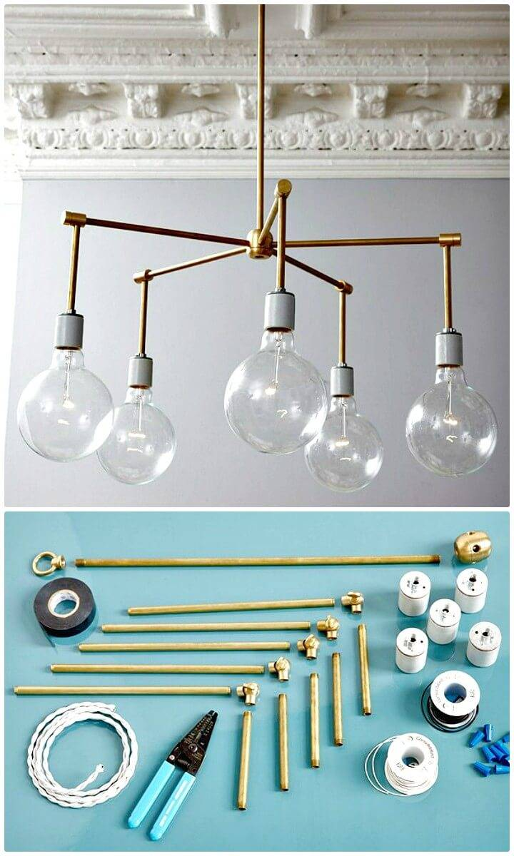 Adorable How to DIY Brass Chandelier - Homemade Lighting Ideas