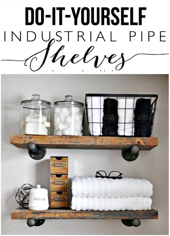 How to Make Industrial Pipe Wooden Shelves - DIY