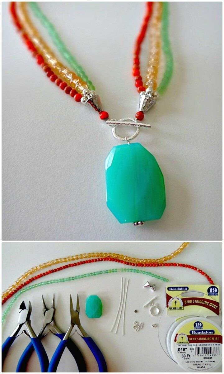 DIY Triple Strand Toggle Pendant Necklace