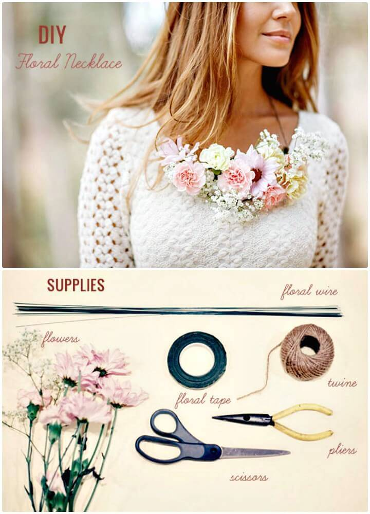 How to DIY Floral Necklace