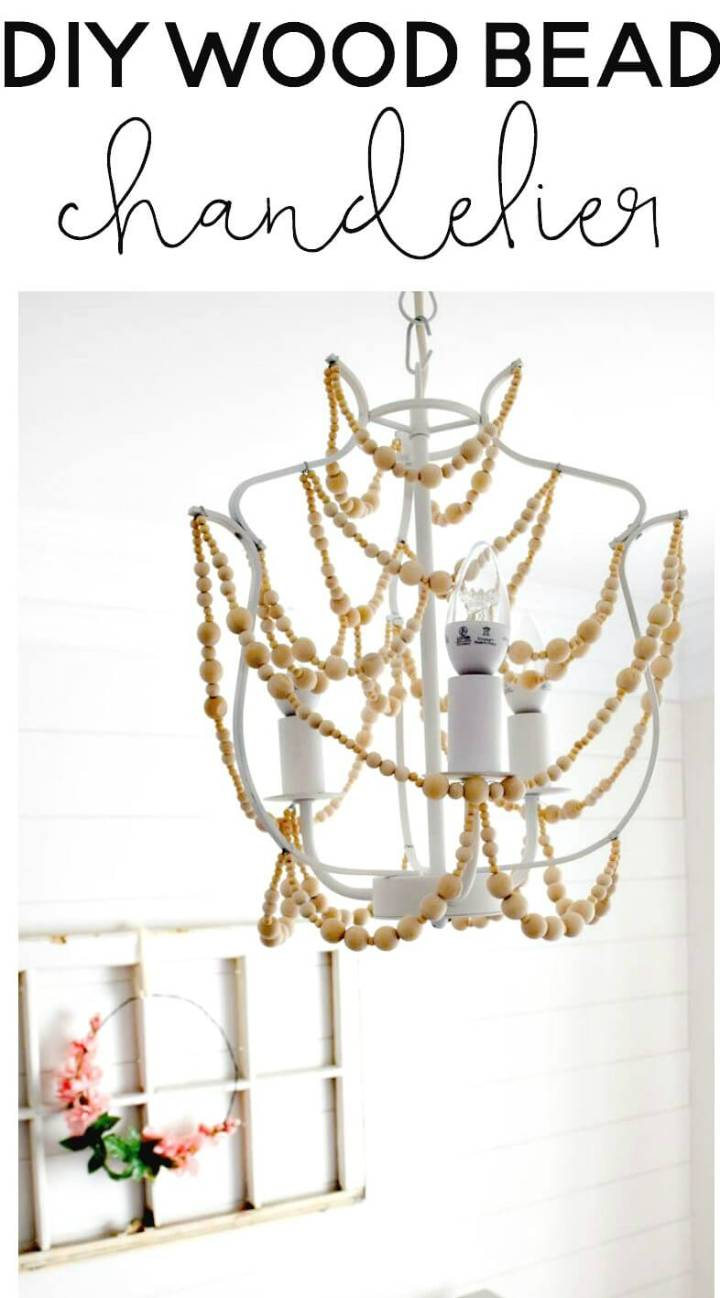 Beautiful How to DIY Wood Bead Chandelier