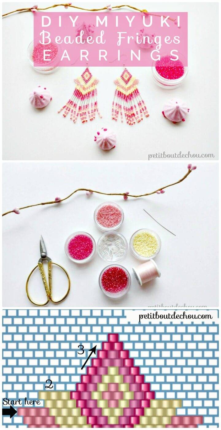 Make Beaded Fringes Earrings -DIY
