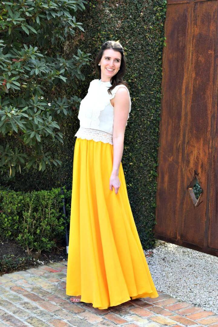 Beautifully DIY Chiffon Maxi Circle Skirt Sewing