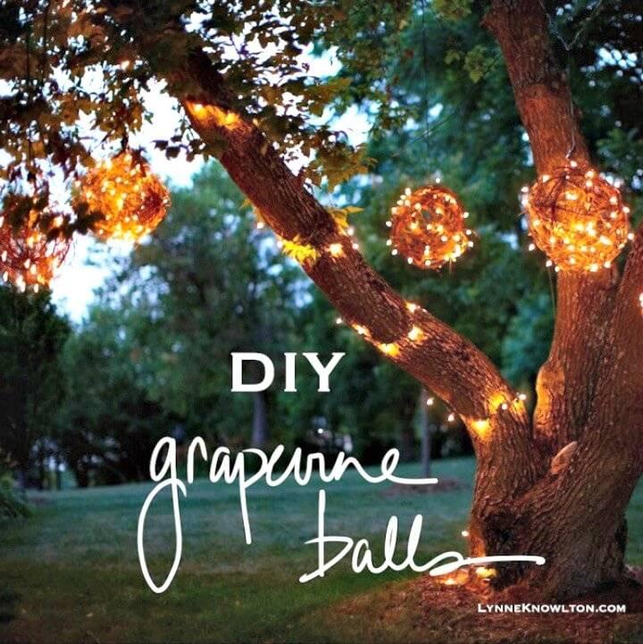Build Your Own Grapevine Lighting Balls - DIY Backyard Ideas