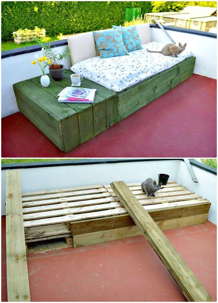 Build Your Own Pallet Patio Day Bed - DIY Backyard Ideas