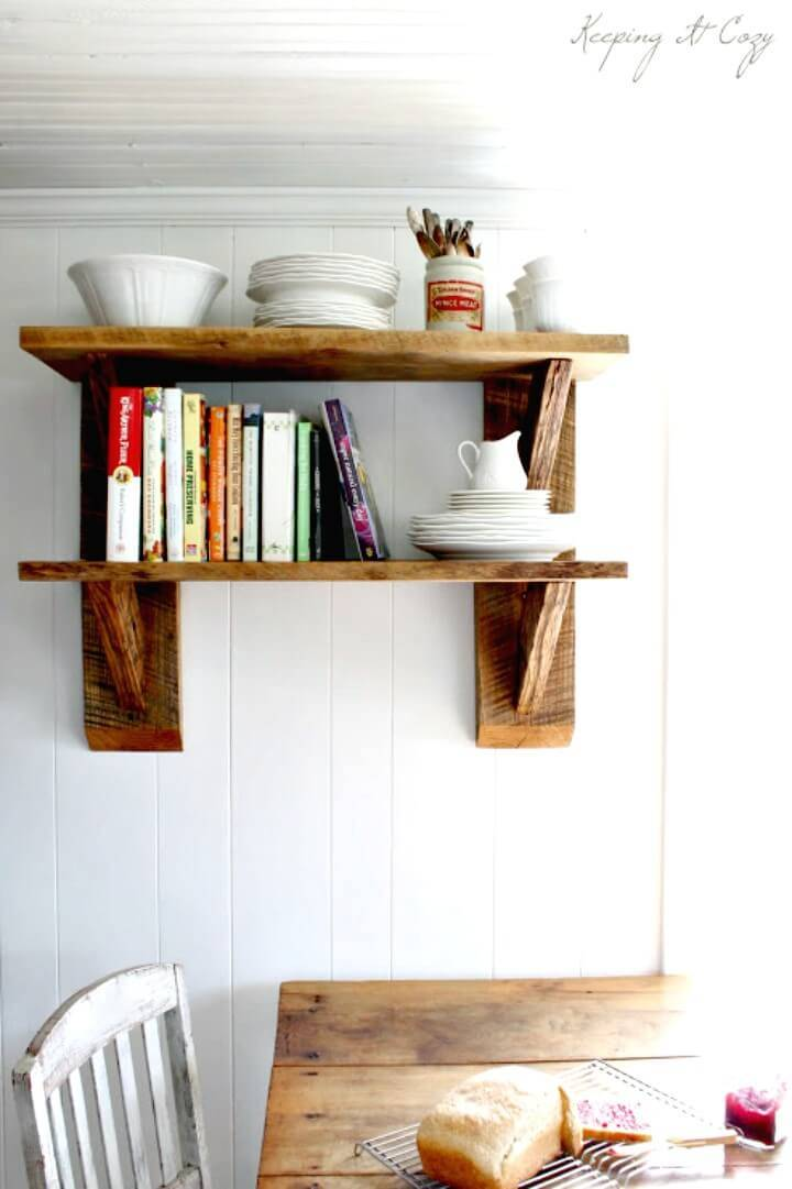Build Your Own Reclaimed Wood Kitchen Shelves - DIY