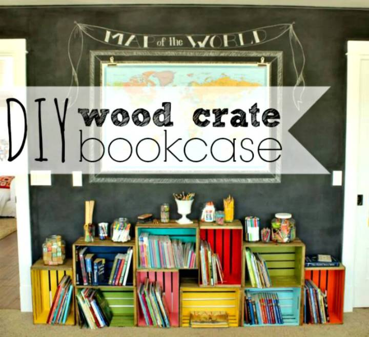 How to Build Your Own Wood Crate Bookcase