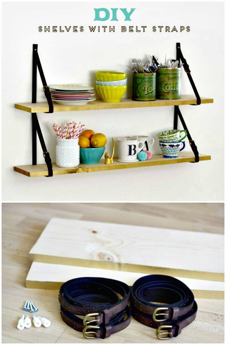 Build Your Own Wooden Shelves with Belt Straps - DIY
