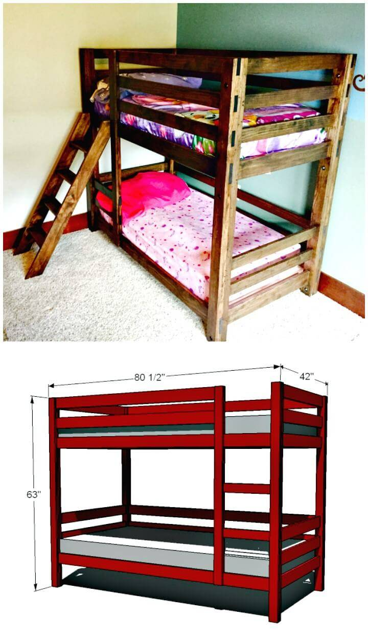 Have A Look At This Another Fantastic Design Of Wooden Bunk Bed That Is  Having Dark Choco Tone Of Wood! Here This Wooden Bunk Bed Is Also Made Of  Custom Cut ...