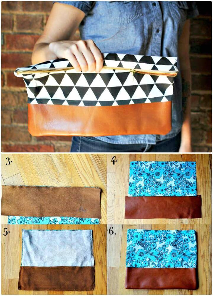Create Cotton + Leather Clutch Purse -DIY