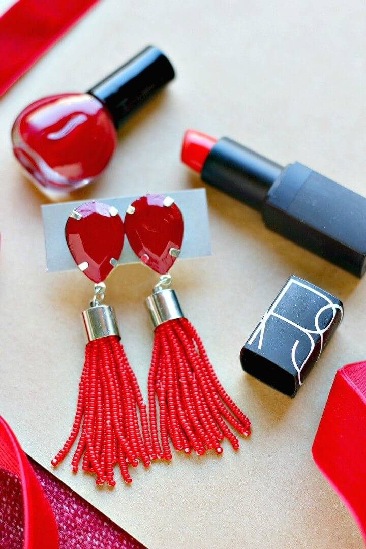 Easy DIY Beaded Tassel Earrings