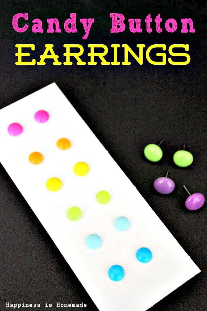 Cute DIY Candy Button Dot Earrings