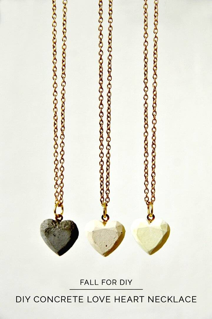 Cute DIY Concrete Hearts Necklace