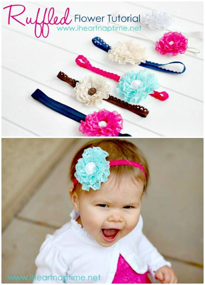 How To Make Ruffled Lace Flower Headband - DIY