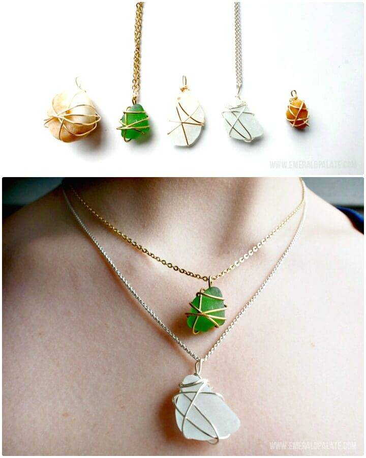 Cute DIY Necklace With Sea Glass, Stones Or Shells