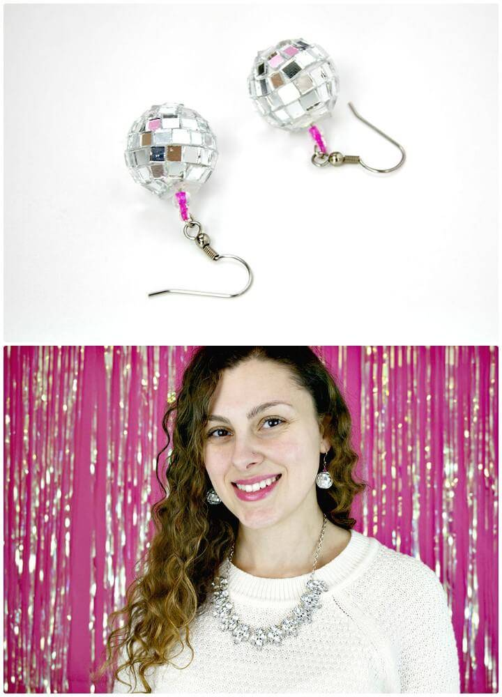 Cute and Easy DIY Disco Ball Earrings