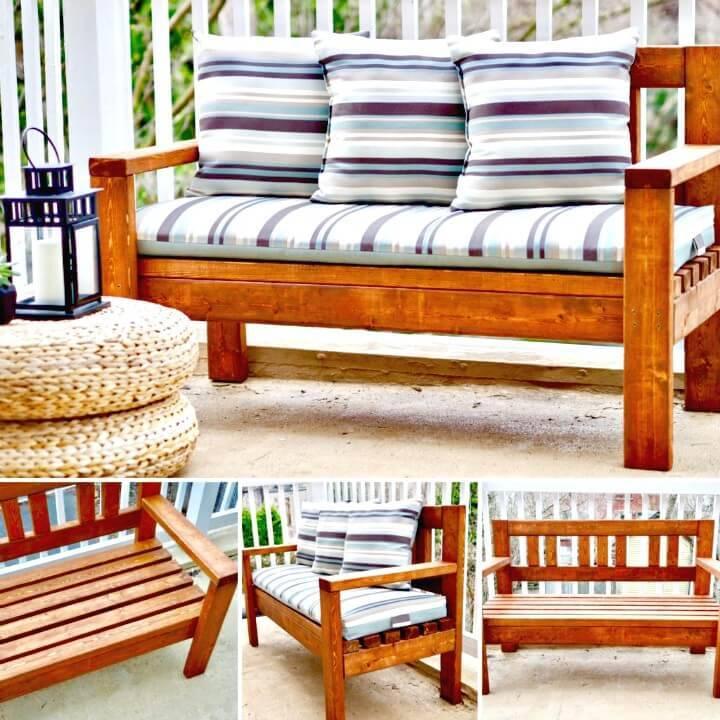 Modern DIY 2×4 Finger Joint Bench - Garden Furniture Ideas