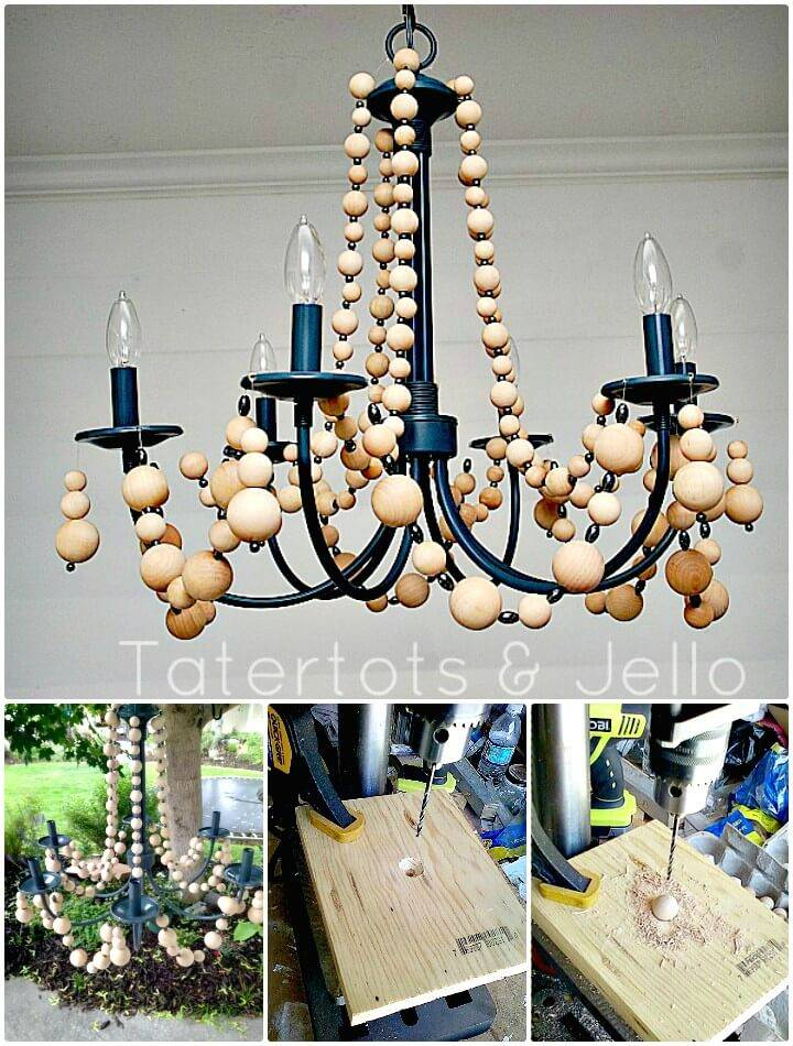 DIY Beachy Wood Bead Chandelier - Indoor Lighting Ideas