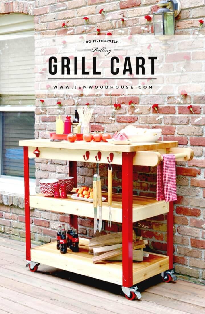 DIY Butcher Block Rolling Grill Cart