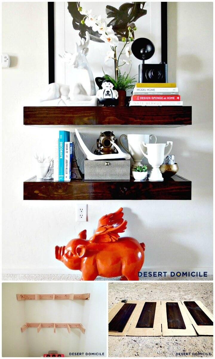 Inexpensive DIY Chunky Wooden Floating Shelves for $15