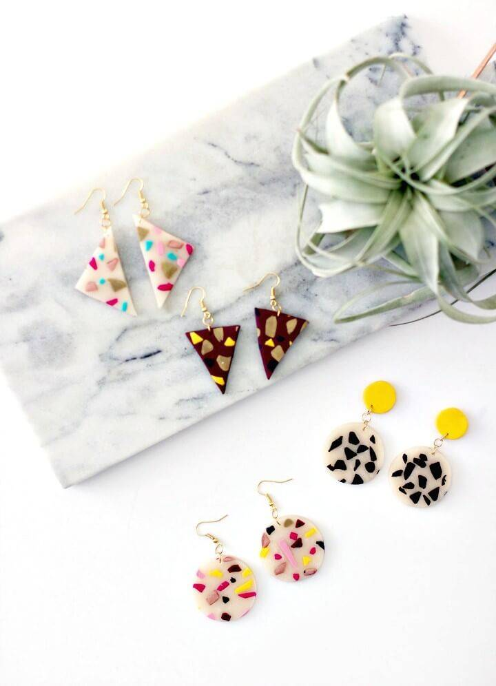 Easy DIY Clay Terrazzo Style Earrings
