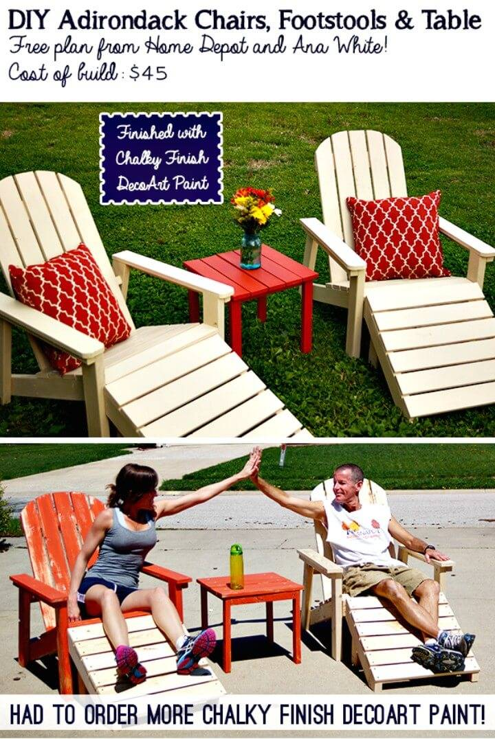 DIY Five Piece Garden Adirondack for $45 - Garden Furniture Ideas