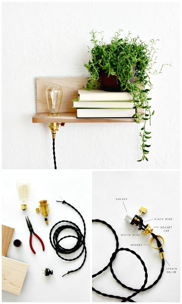 DIY Floating Wood & Brass Shelf With Built-In Light