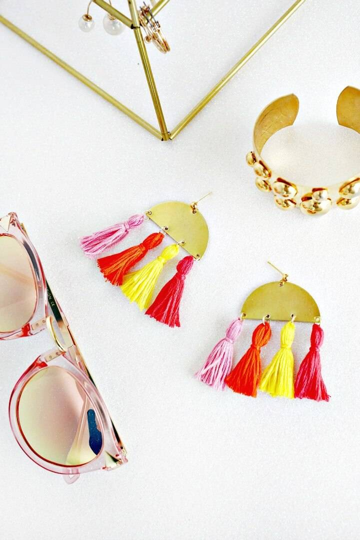 DIY Half Moon Tassel Earrings