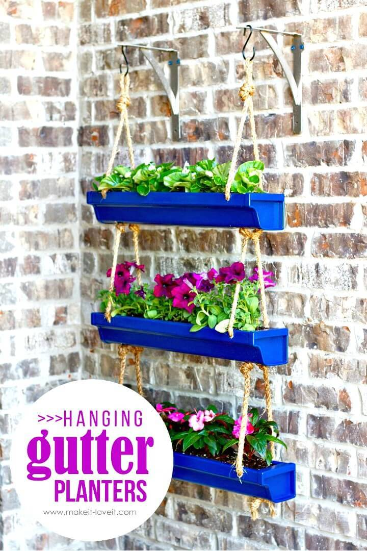 DIY Hanging Rain Gutter Planters - Patio & Porch Decor Ideas